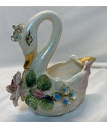 Vtg Norcrest Pink Swan Ashtray Lustreware Style With Flowers & Gold Accents - $25.00