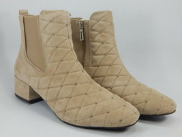 Isaac Mizrahi Live! Size 9 M Women's Quilted Suede Bootie Ankle Boot Cappuccino - $59.39