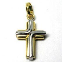 Colgante Cruz de Oro Blanco y Blanco 18K 750 Estilizado Hecho en Italia Joya image 4