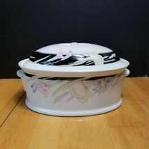 Mikasa Charisma Black Covered Casserole 1.75 Qt. Black with Flowers Ultr... - $24.70