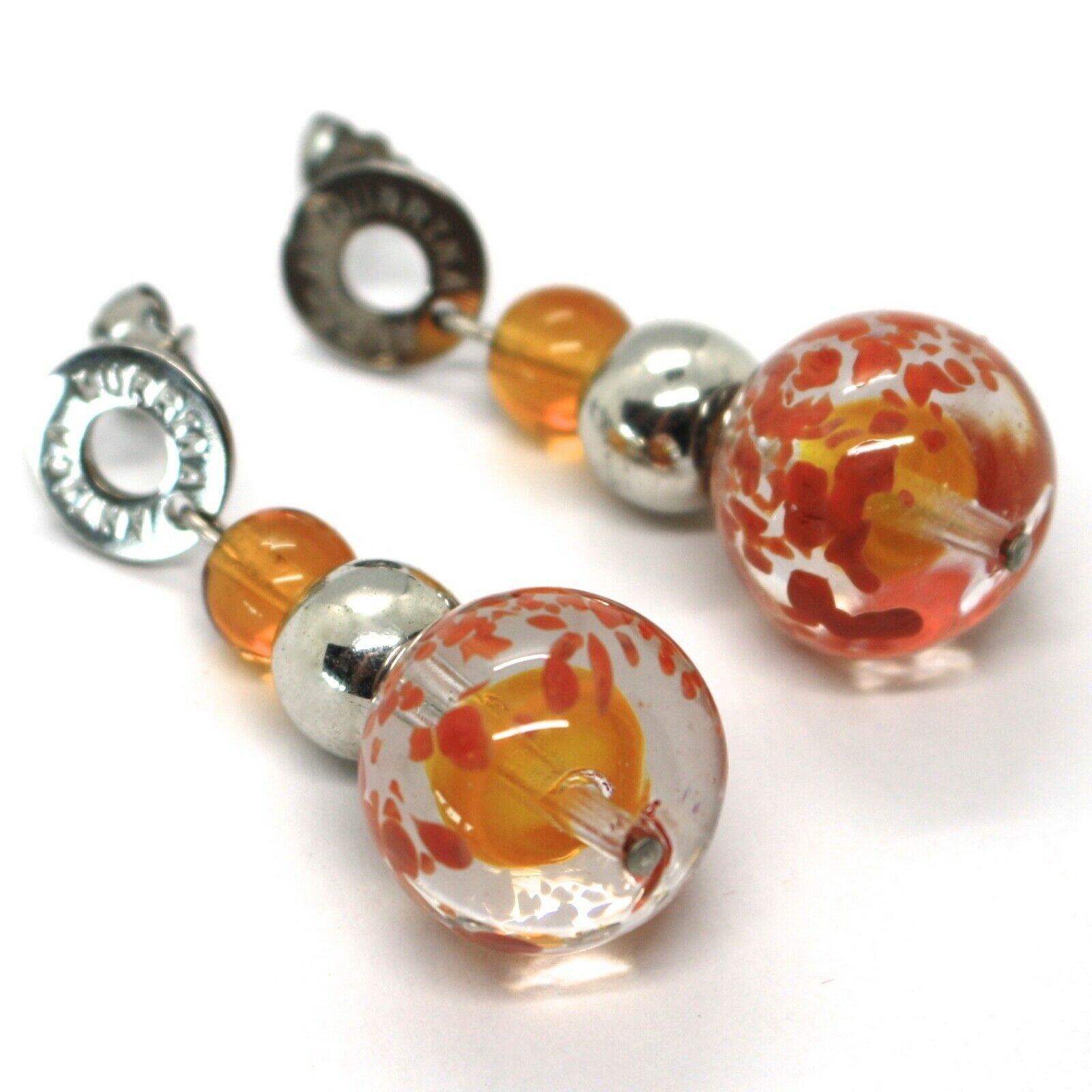 Earrings Antica Murrina Venezia,Hanging,Spheres,Orange Yellow,Murano