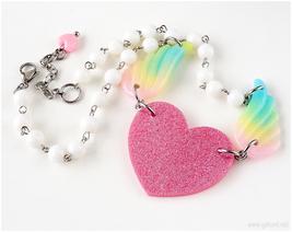 Winged Heart Necklace, Pastel Grunge, Kawaii, Handmade Jewelry, Gatumi - $26.00