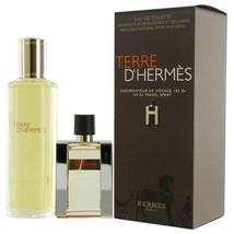 Hermes Terre D'Hermes EDT Spray Refillable 1.0 Oz & EDT Refill 4.2 Oz Gift Set image 1
