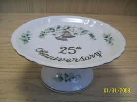 Lefton China Hand Painted 25th Anniversary Pedestal Candy Dish Bell Design - $7.95