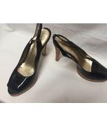 "Jessica Simpson Peep Toe Cork Heel Shoes Patent Leather sz 8.5 B 4.5"" heels - $21.23"