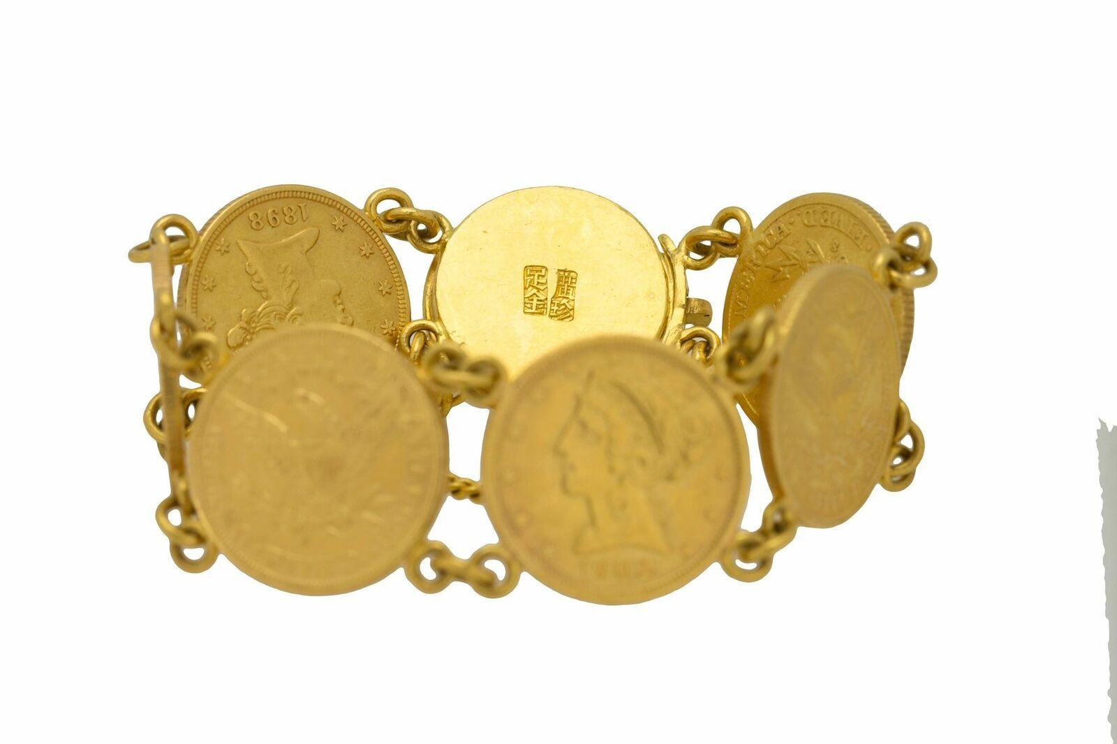 1900s Antique Estate 22k Gold Liberty Head $5 Gold Coin Gypsy Bracelet
