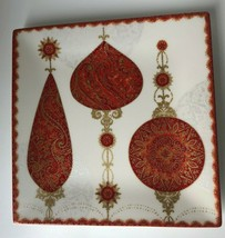 222 Fifth Constantina Red Christmas Ornament Salad Plates Fine China Set... - $24.74