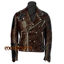 Men Moto Ribbed Leather Jacket, Multi Color Stylish Fashion Biker Leathe... - $229.00