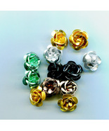 aluminum rose beads, metal rose bead, roses, flower beads 12 piece 15mm ... - $1.75