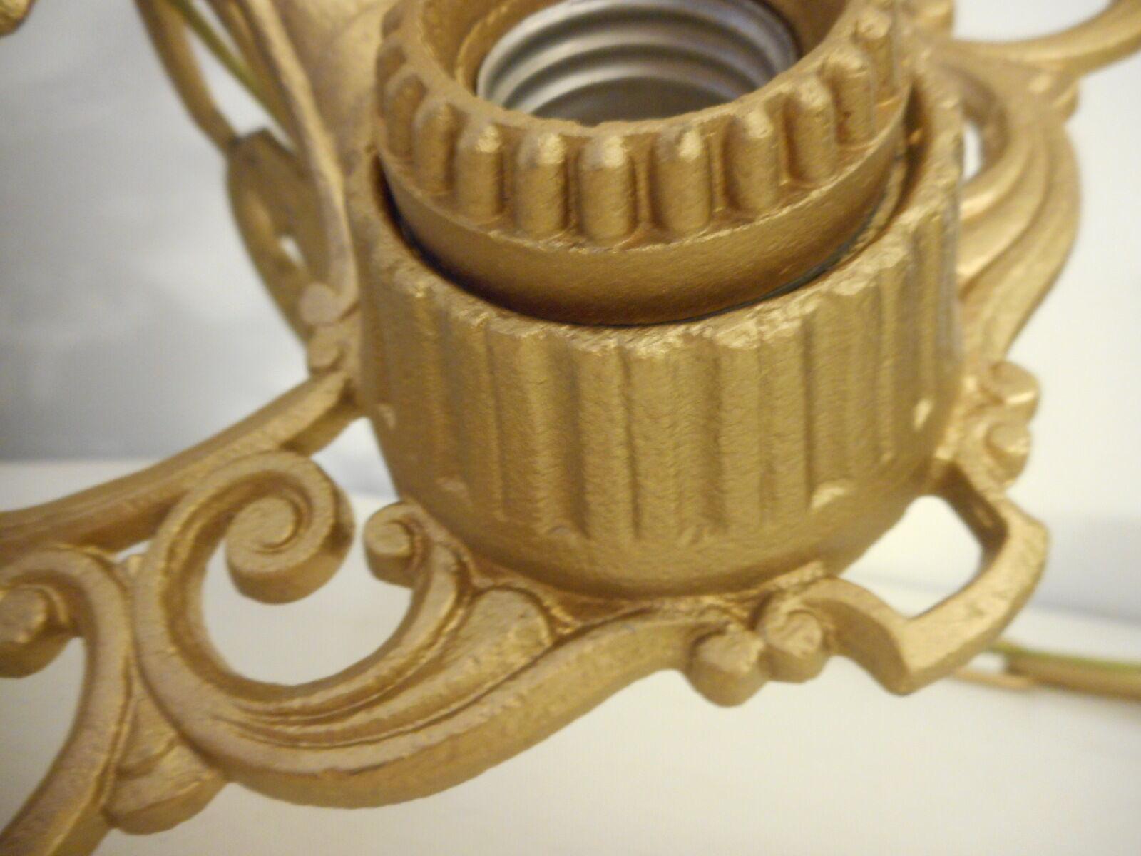 Vintage Antique Art Deco  5 Bulb Hanging Light Fixture Restored matte gold color