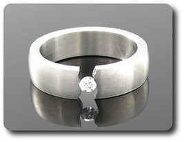 MAN RING PATTERN STEEL + DIAMOND CZ 1x3 mm size 56 & 59 - $46.15