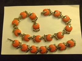"Set 7"" Bracelet 14"" Necklace Pink-Orange Lucite Gold tone Egyptian Revival - $27.50"