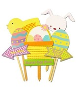 Wooden Easter Garden Stakes Lawn Decoration Party Egg Hunt Prop Wood 7 P... - $17.77