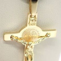 18K YELLOW GOLD CROSS, JESUS & SAINT BENEDICT MEDAL, BIG 2.1 INCHES, ITALY MADE image 5