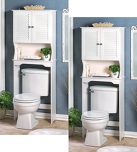 Two (2) tall above toilet white wood Nantucket bathroom shelf storage cabinets - $176.00