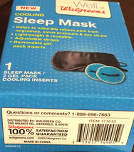Walgreens Cooling Sleep Mask & 2 Gel Pack Inserts Included (1 Mask) New ... - $7.90