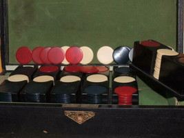 360 Victorian Poker Chips in Wood Leather box Catalin / Bakelite 6 trays... - $112.49