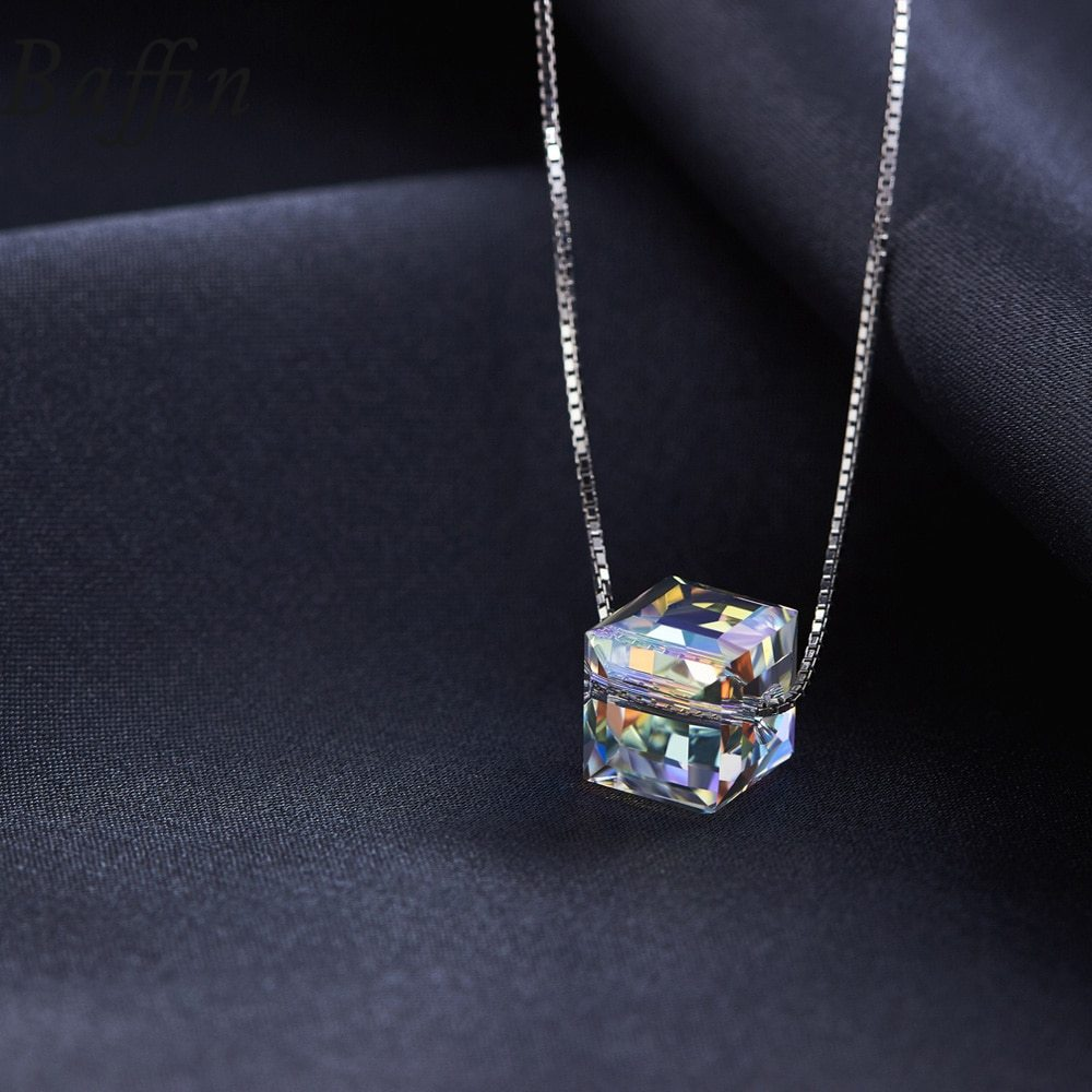 BAFFIN Crystals From SWAROVSKI Cube Beads Necklace Pendants 925 Sterling Silver  image 4
