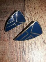 Vintage trifari earrings modernist Style molded glass gold tone - $13.37