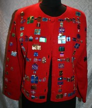 Michael Simon Event Christmas Holiday Cardigan Sweater M Sequins Present... - $60.25