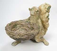 Squirrel Figurine Holding Nest Tabletop Decor Fall Holiday Antique Count... - $32.62