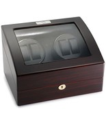 Diplomat Ebony Wood Quad Watch Winder with Black Leather Interior and 4 ... - $197.01