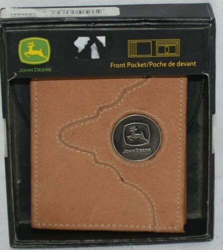 John Deere LP50951 Front Pocket ID Money Clip tan boxed
