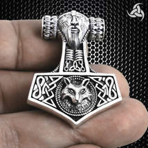 Viking Norse Odins Wolf Fenrir Thors Hammer Pendant Sterling Silver SCA ... - $38.51