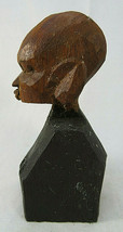 """AFRICAN WOOD SCULPTURE 4""""1/2 tall Bust Black Man Figurine Hand Carved - $40.00"""
