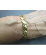 VTG 14k Yellow Gold AURIFIN TURKEY Bracelet 9.83g Hugs Link 9mm Wide Des... - $395.99