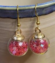 Rose Red Glass Star Orb Dangle Earrings Iridescent Confetti Glitter Pink Purple - $20.00