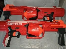 Lot Of 2 Hasbro Nerf Red Mega Nstrike Elite Rotofury Dart Toy - $30.00