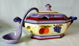 Tabletops Unlimited Medici Soup Casserole Bowl with ladle  Lavender Purple  - $59.40