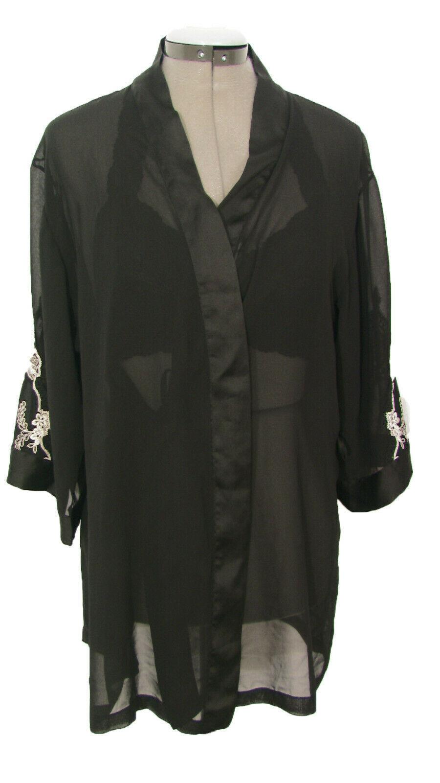 Vera Wang for Fidelia Lingerie Black Chiffon Bed Jacket Size M - $10.00