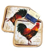 ROOSTER theme POTHOLDERS set of 2 French Country Decor Beige Pot Holder NEW - $7.49
