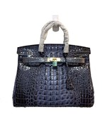 35cm Navy Blue Crocodile Embossed Italian Leather Birkin Type Satchel Ha... - $188.05