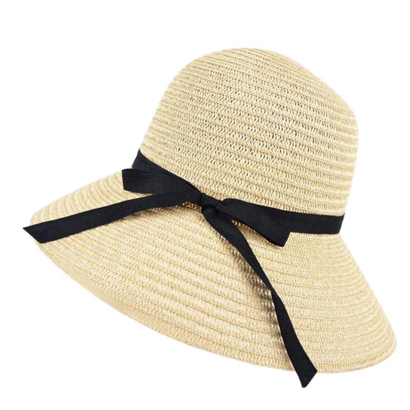 2019 Women Wide Brim Summer Sun Hat With Bowknot Floppy Beach Bohemian Sun Hats  image 3