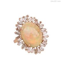 Ópalo Piedra Preciosa Diamante Baguette Moda Anillo de Cóctel 18Ct Oro Rosa - $1,423.12