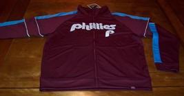 VINTAGE PHILADELPHIA PHILLIES BASEBALL MLB ZIPPERDOWN  JACKET MEDIUM NEW... - $74.25
