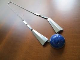 "Antq. Art Deco Germany Rhodium plated 835 silver Lapis Stone Choker necklace 16"" - $89.99"