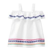NWT Gymboree True Blue Summer Baby Girls White Embroidered Ruffle Linen ... - $10.99
