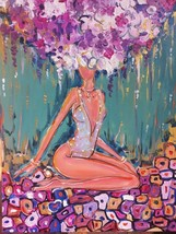 Art / New Art / Paintings / Drawing / Girl purple / Spring / Color / Mod... - $187.00