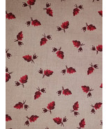 Henry Glass Per Half Yd, Red Brown Leaves on Neutral Light Tan Quilt Sho... - $2.97