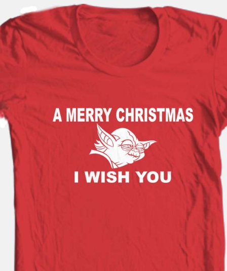 Yoda Wish You Merry Christmas T shirt 100% cotton red graphic tee