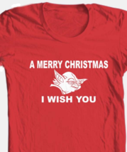 Yoda Wish You A Merry Christmas T-shirt 100% cotton red graphic tee image 2