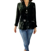 GIORGIO ARMANI COLLEZIONI 12 green floral crushed velvet fitted blazer j... - $146.52