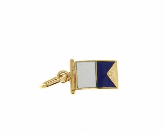 18K YELLOW GOLD NAUTICAL GLAZED FLAG LETTER A PENDANT CHARM MEDAL MADE IN ITALY