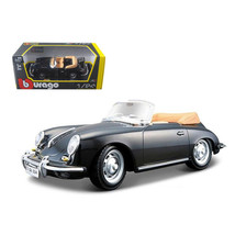1961 Porsche 356 B Cabriolet Black 1/24 Diecast Model Car by Bburago 220... - $33.46