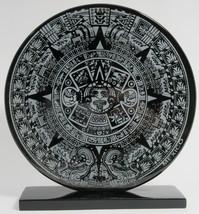 Decorated black obsidian mirror - Aztec Calendar - $48.00