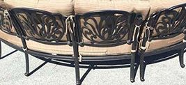 Patio Curved Sofa Elisabeth 2 Pc Club Swivel Rockers end tables Desert Bronze image 3